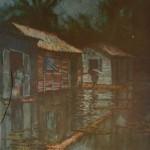 1985,INUNDACION ,oleo-lienzo,36X24