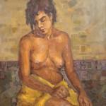 1988 ,LA MODELO DE LA ESCUELA, oleo-lienzo,40x32