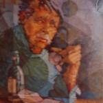 1988,NOSTALGIA, oleo y collage-lienzo,30x24