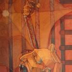 1988,PRISIONERO,oleo y collage- lienzo,36x26