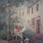 1989,LEYENDO PERIODICO,oleo-lienzo,36x24