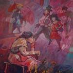 1993,VENDEDORA DE GIRASOLES,oleo-lienzo, 50x40