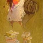 2005-Sobre una pila de libros,50x22